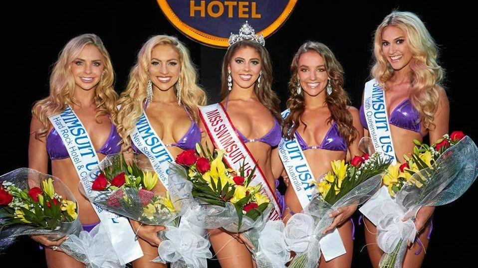 BEAUTY QUEENS: Lara Mitton, third runner-up (far right) with fourth runner-up Casey Costelloe, second runner-up Liza Kirkness, Miss Swimsuit USA 2018 Sierra Mowak, and first runner-up Casey Boonstra.