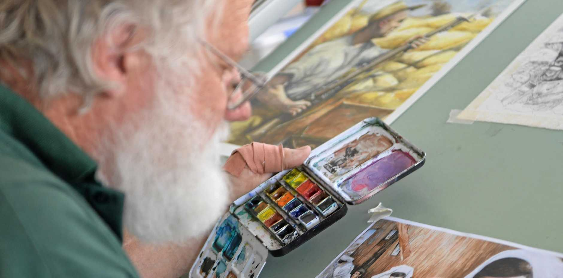 AT WORK: Bundaberg artist Ross Driver.