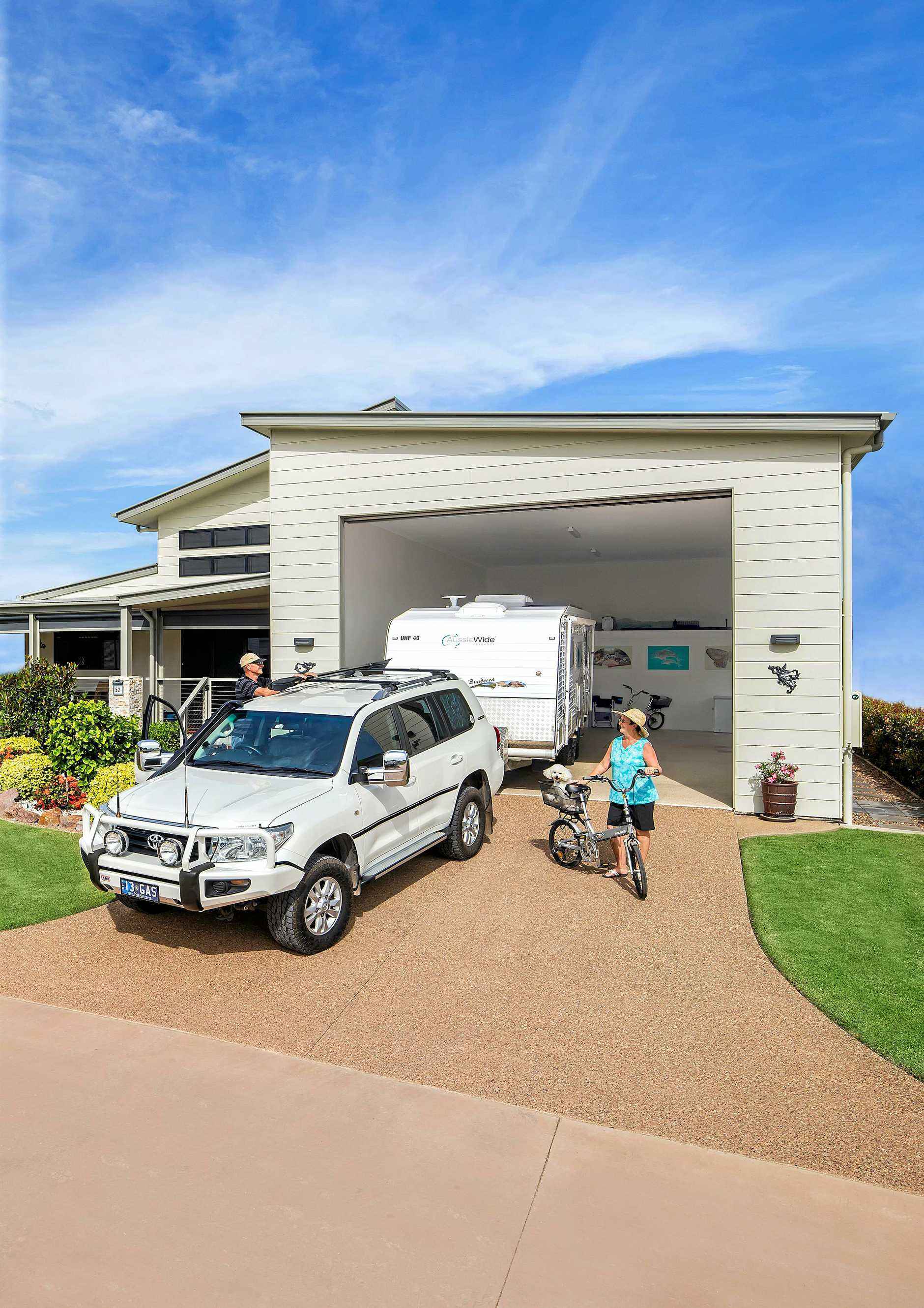 Station Creek Lifestyle Village has based its plans on the RV Homebase, like this home pictured which has a garage large enough to park a caravan.