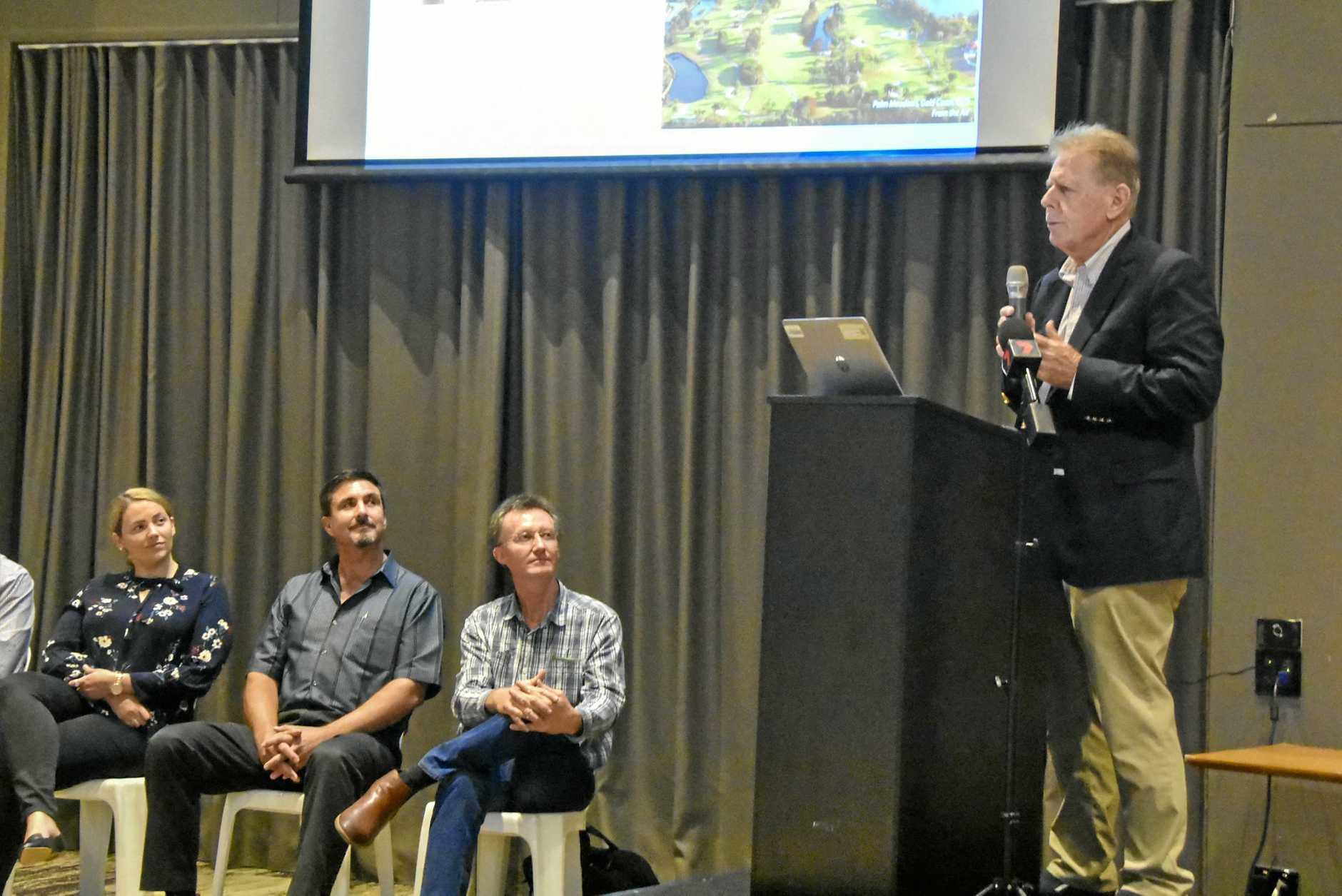 Station Creek Lifestyle Village golf course designer Graham Marsh speaking at a community forum on Wednesday night.
