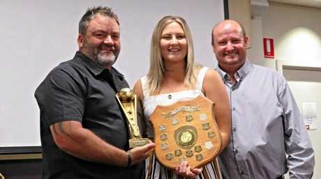 Ladies player of the year Brittany McEvoy with Barry Jones and Brian Westerhout.
