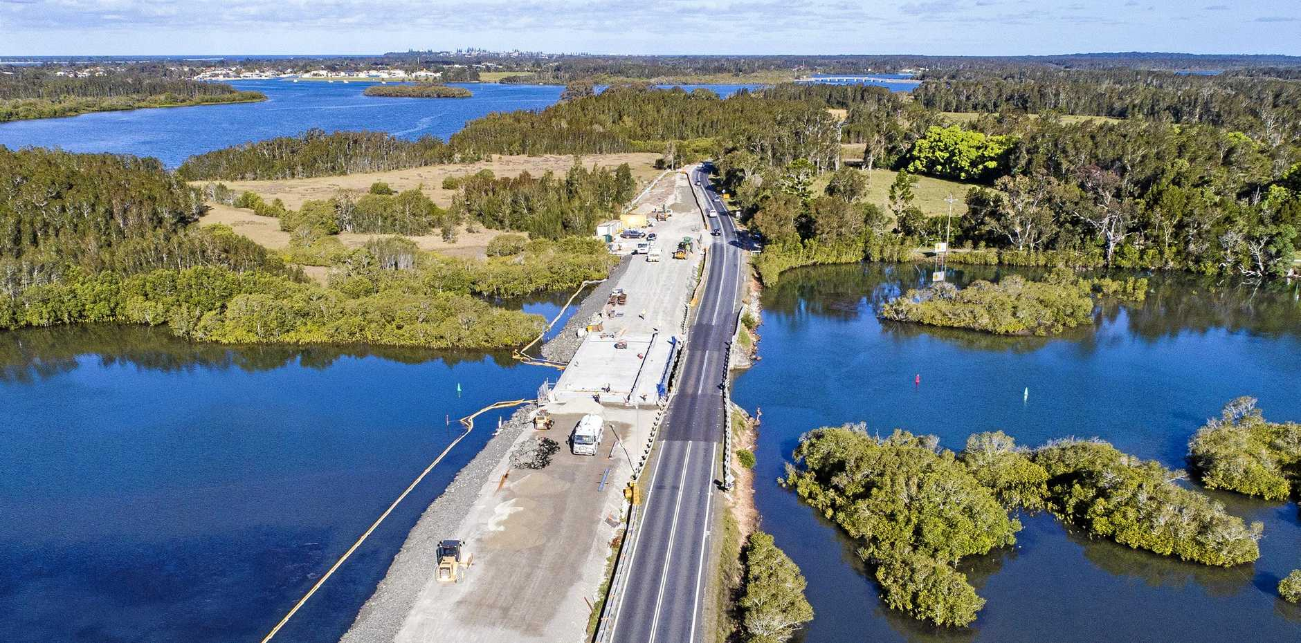 An aerial view of a work-in-progress of the construction of a new bridge at Romiaka Channel, near Yamba.