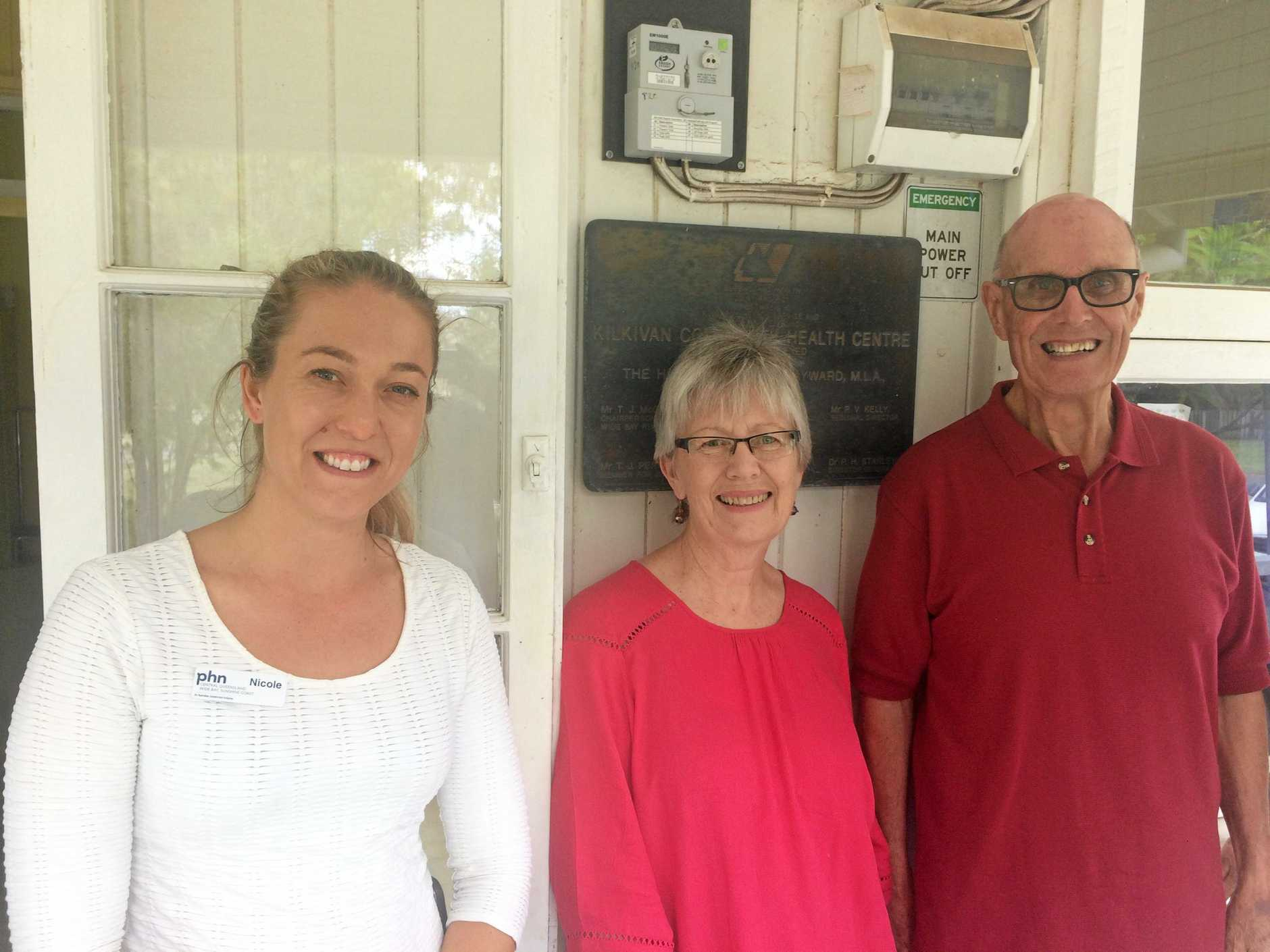 Nicole Cool with Lesley and Robert Thompson at the Kilkivan Community Health Centre, where the Gympie region's health services reach out to Kilkivan and Goomeri districts.