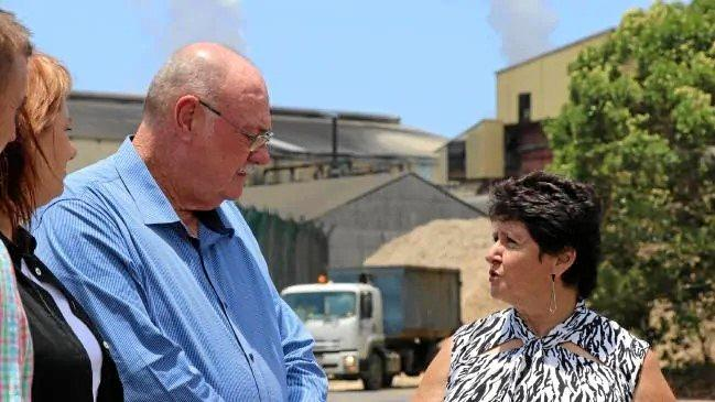 Federal MP Warren Entsch speaking with Far Northern Milling director Maryann Salvetti at the Mossman Mill.