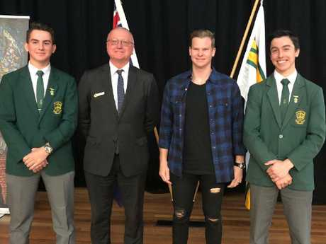 Steve Smith poses for a photo during his visit to Parramatta Marist.