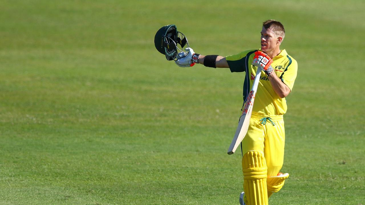 David Warner's blazing century went to waste. Picture: Getty