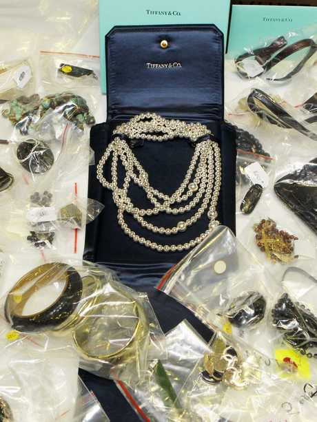 Some of the expensive jewellery found in his Brisbane apartment.