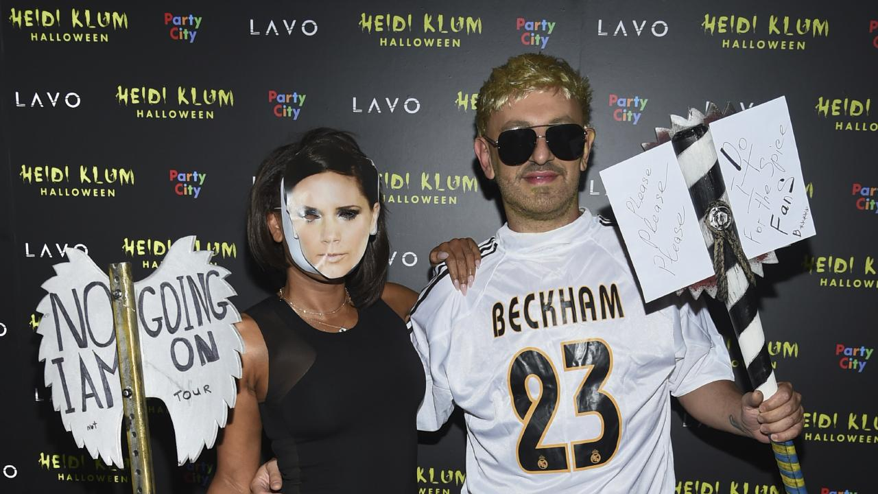 Mel B's boyfriend Gary Madatyan was dressed as David Beckham. Picture: Evan Agostini/Invision/AP