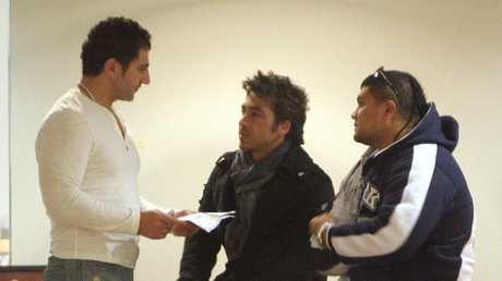 John Ibrahim with associates and friends at Royal North Shore Hospital following the shooting of his brother Fadi in 2009.