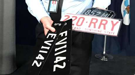 Some of the false plates that have been confiscated by police.