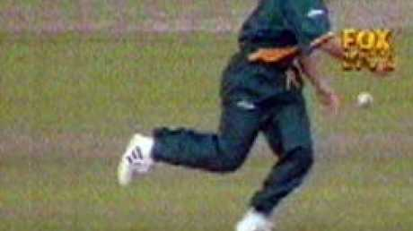 The most famous dropped catch in World Cup history? Herschelle Gibbs' drop may have cost his team the World Cup. Picture: Fox Sports