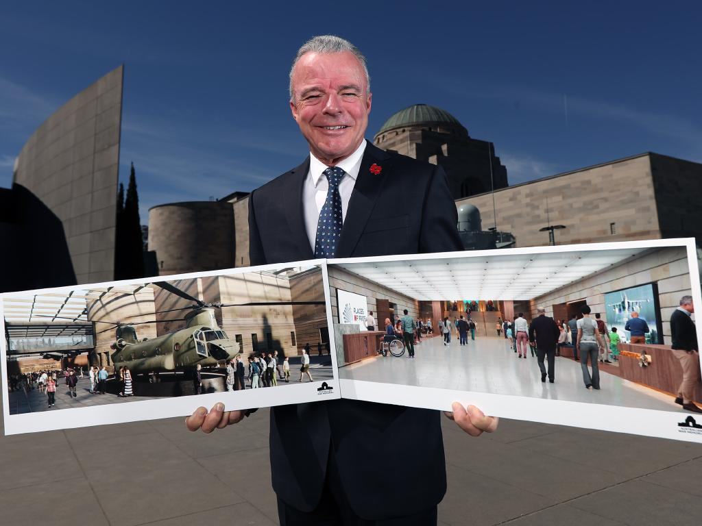 Australian War Memorial director Dr Brendan Nelson with an artist's impression of the proposed upgrades. Picture: Gary Ramage