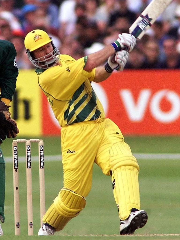 Steve Waugh hits out during his matchwinning century. Picture: AP
