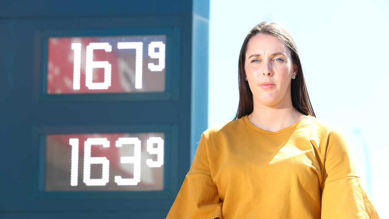 Brisbane motorist Laura Illman is one of a growing number of Australians fed up with skyrocketing fuel prices. s not happy with petrol prices. Picture: Tait Schmaal