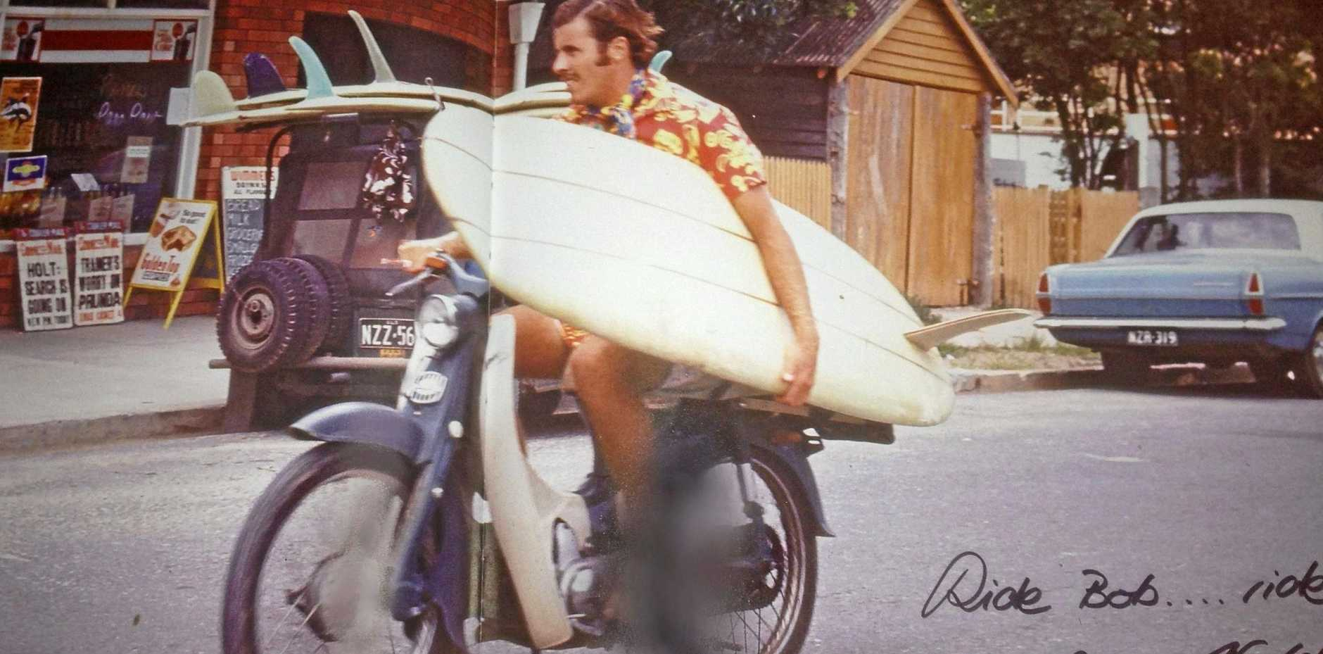 Bobby Aitken, pictured here on Hastings St in 1967, has ridden the wave of Noosa's surf culture.
