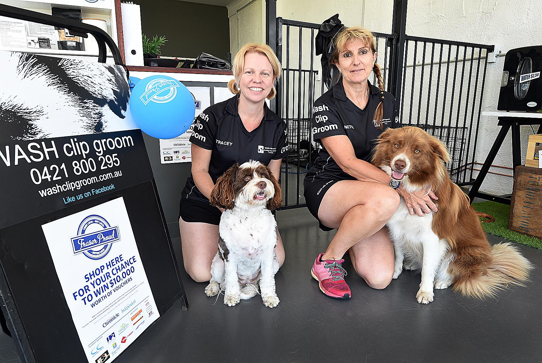 Fraser Proud - (L) Tracey Morgan with Coco and Annette Gniel with Benny about to get pampered at WASH clip groom at Torquay.