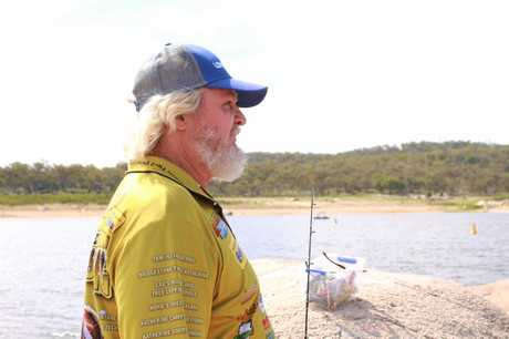Brisbane angler Kerry McDougal said he had never seen Leslie Dam as low as it was when he cast his line there yesterday, despite many trips to the dam.