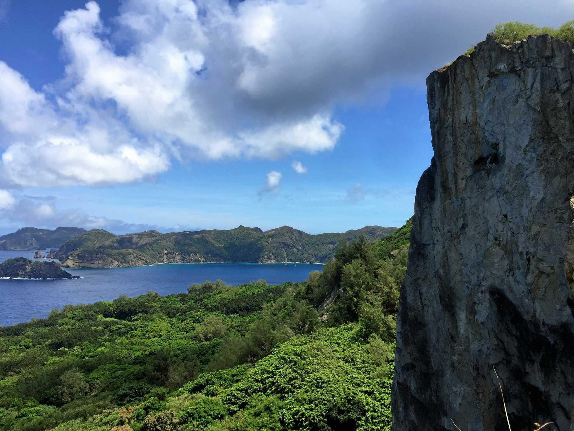 Beautiful lush bay anchorage on the East coast of Chichi Jima.