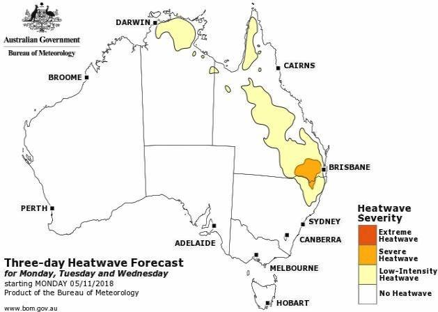 Gympie is expected to be in the throws of a low-intensity heatwave from early next week.