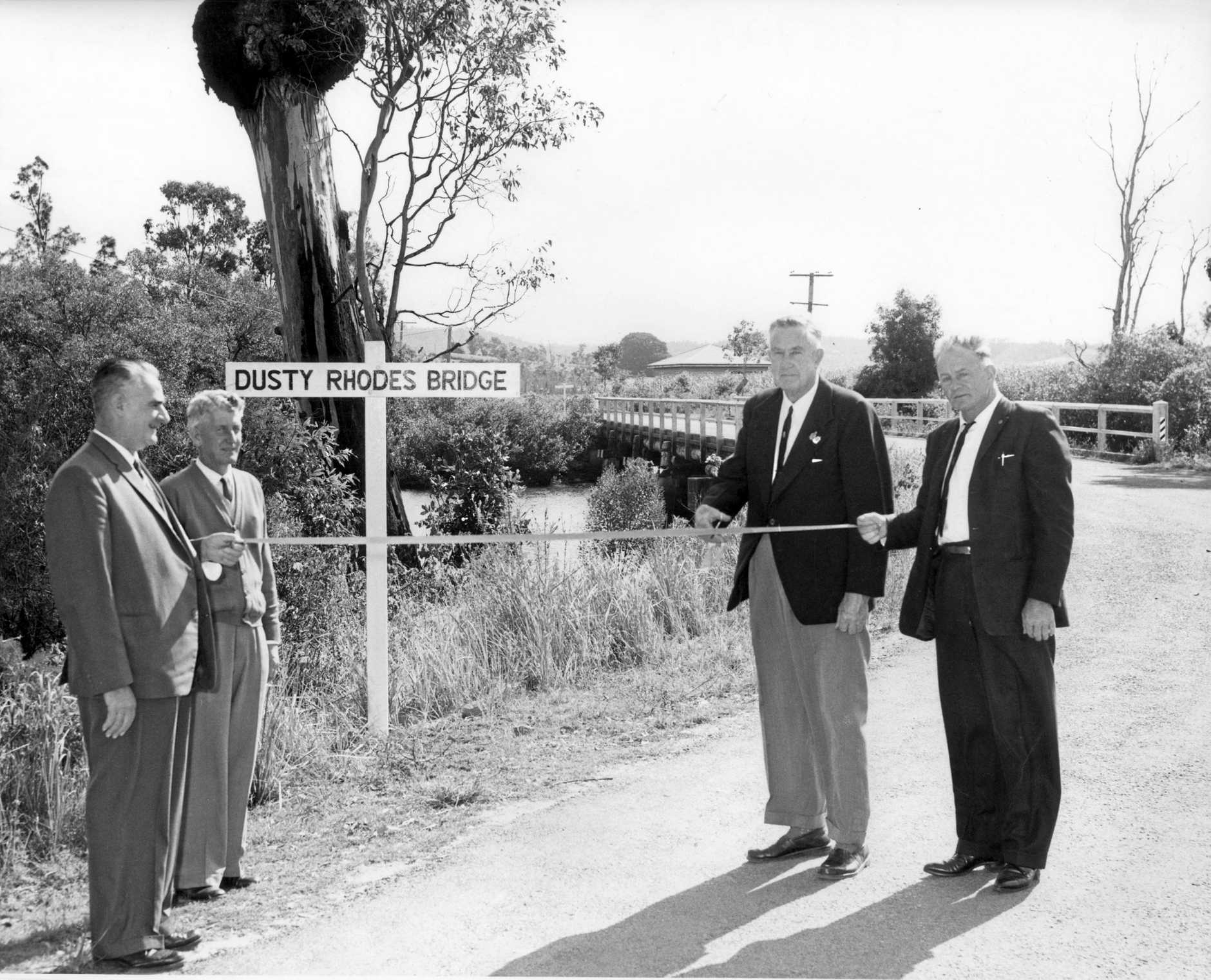 M198404 Official naming of the 'Dusty Rhodes Bridge' over Paynters Creek, Bli Bli, on 29 May 1964.