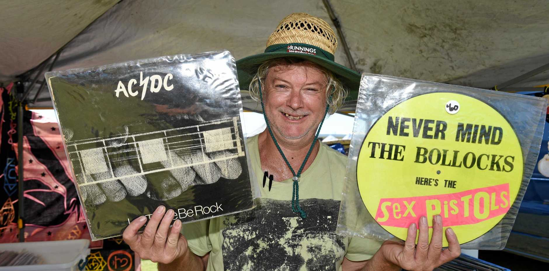 Baffle Creek's Scott Collins had a bunch of his classic record collection on sale at last year's Hervey Bay High School swap meet.
