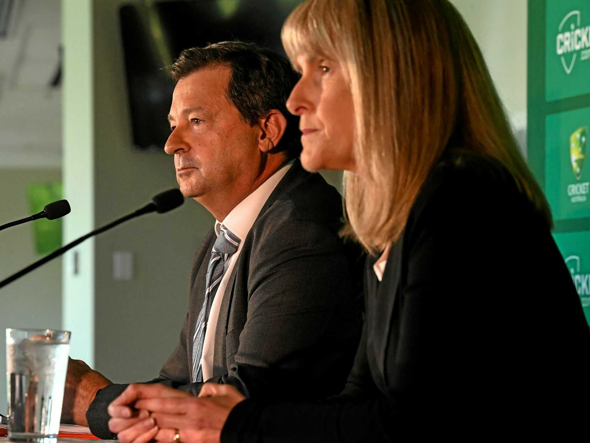 Then Cricket Australia chairman David Peever speaks to the media alongside review subcommittee chairwoman Jacquie Hey in Melbourne on Monday. Picture: Penny Stephens/AAP