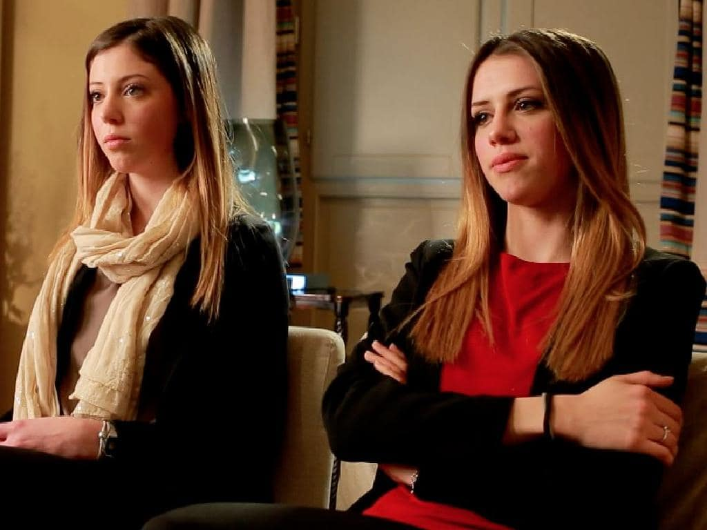 The older sisters Claire (right) and Emily Vincenti during an interview on 60 Minutes in 2015. Picture: Nine Network/60 Minutes