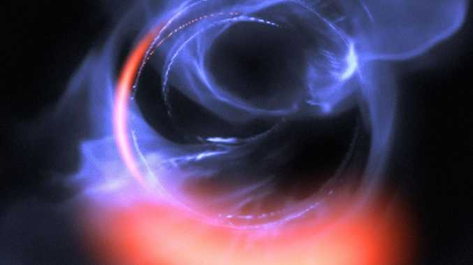 A visualisation of data captured showing clumps of gas swirling around at about 30% of the speed of light on a circular orbit just outside a four million solar mass black hole. Picture: ESO