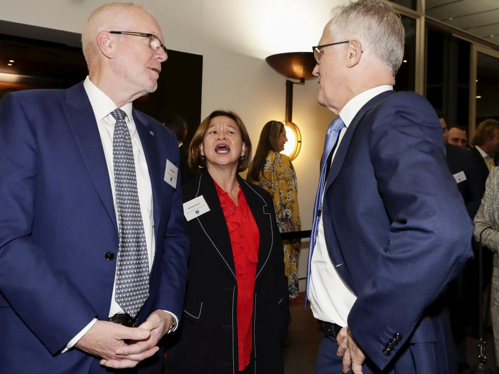 Former ABC chair Justin Milne, former Managing Director Michelle Guthrie and former Prime Minister Malcolm Turnbull in August this year. Picture: Alex Ellinghausen