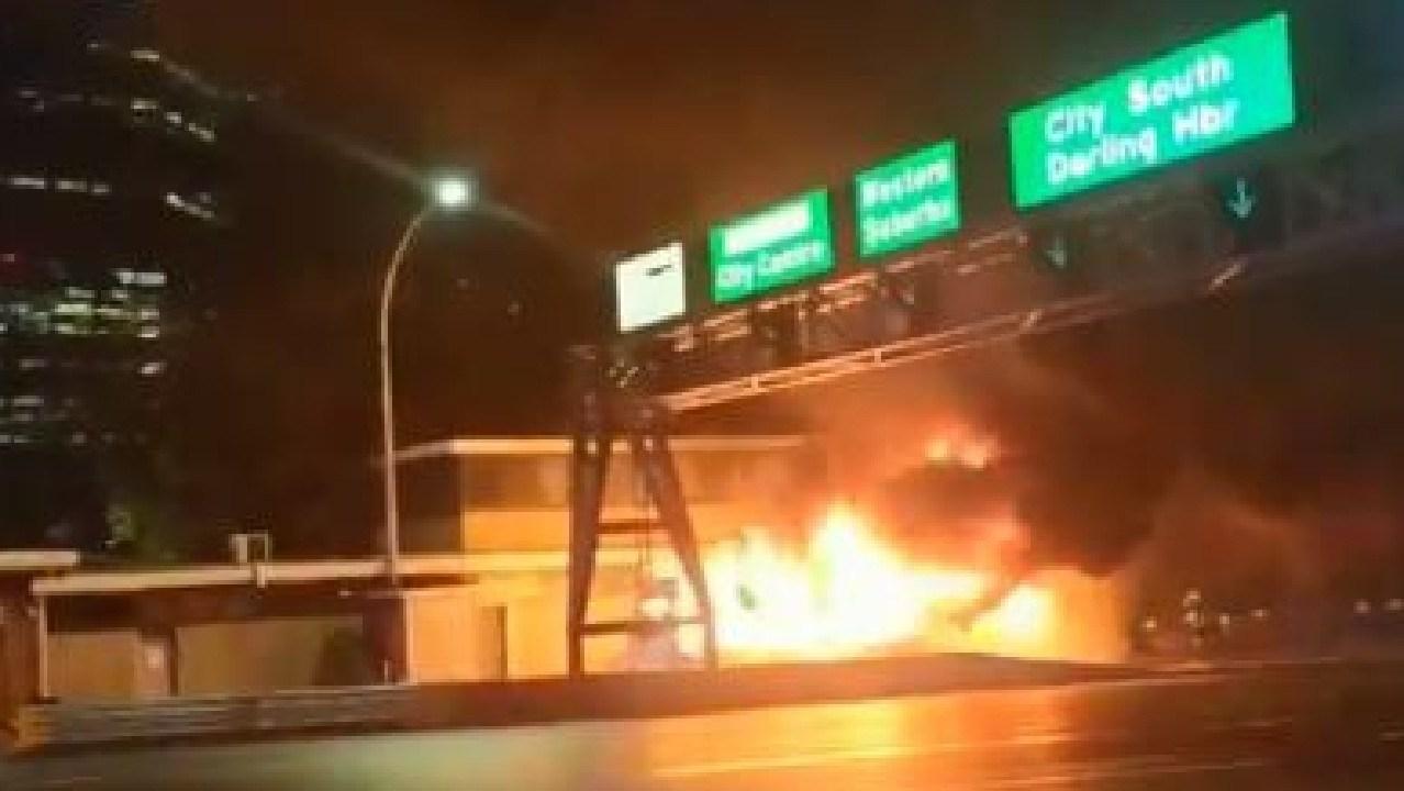 Sydney Harbour Bridge bus fire. Picture: Twitter