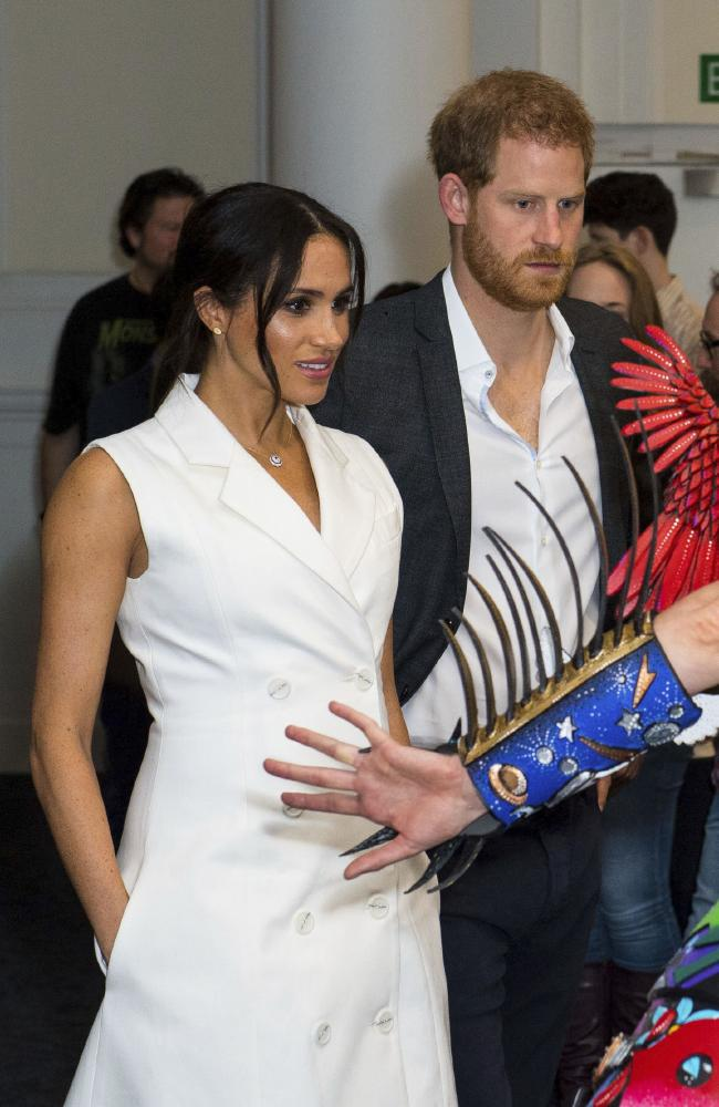 The Duchess of Sussex has been criticised for keeping her hands in her pockets during the royal tour. Picture: Dominic Lipinski/Pool Photo via AP `
