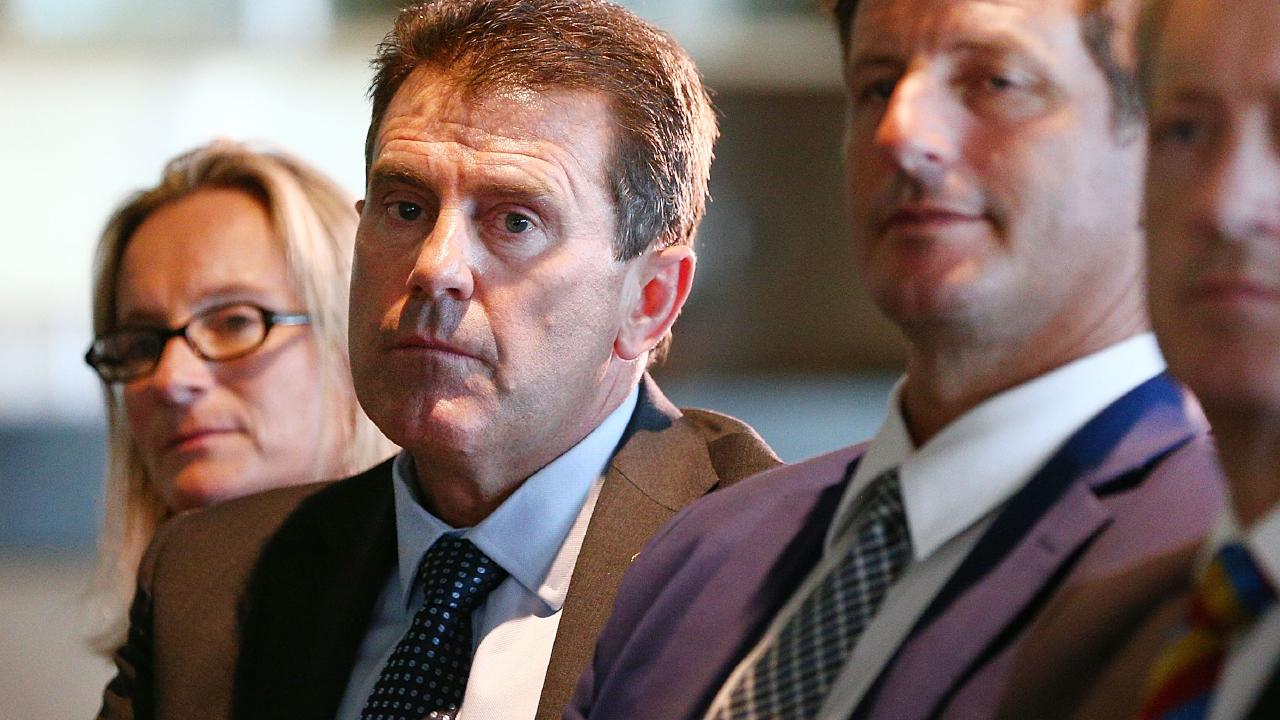 Mark Taylor watches on during the Cricket Australia press conference following the culture review. Picture: Getty