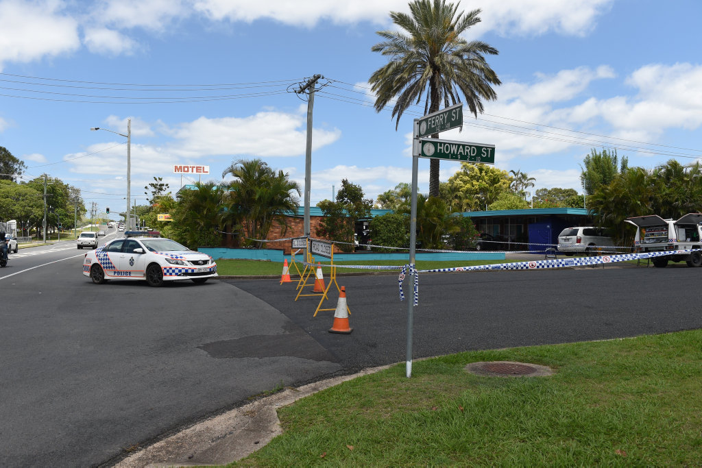 At the scene - Howard street blocked off as officers from the forensic investigation unit comb the scene outside the Maryborough City Motel on Ferry St.