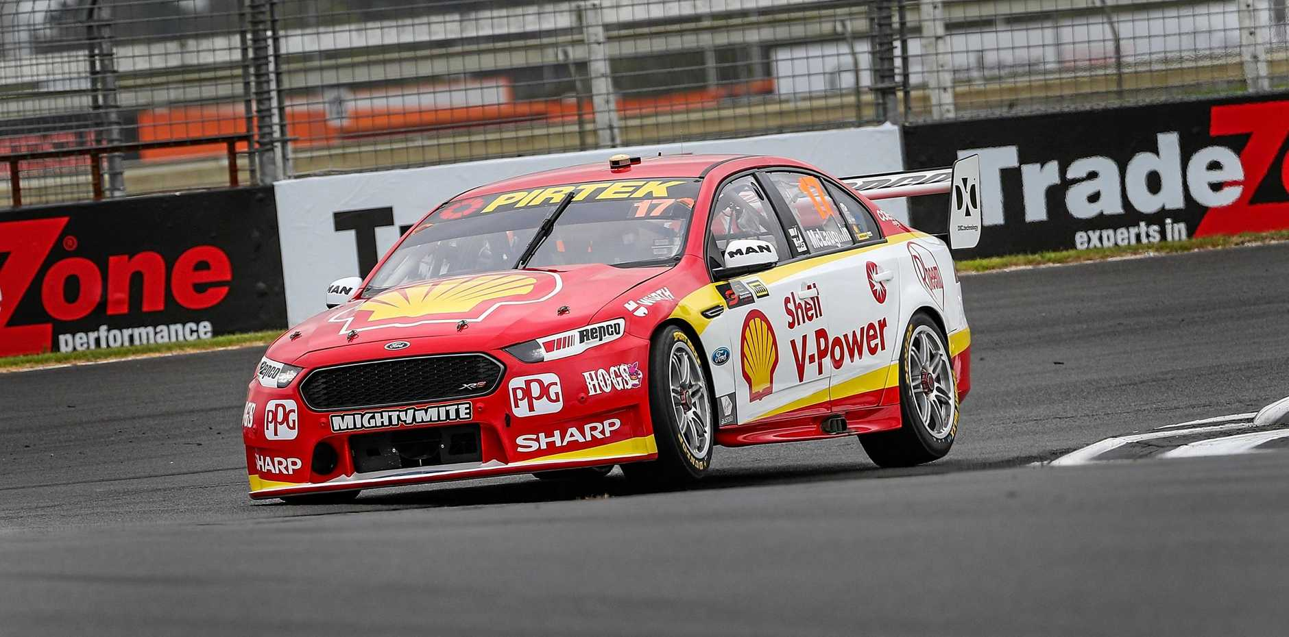 Scott McLaughlin pushes his Ford Falcon FG-X at the Pukekohe Park racetrack on Saturday. Picture: David Rowland/AAP
