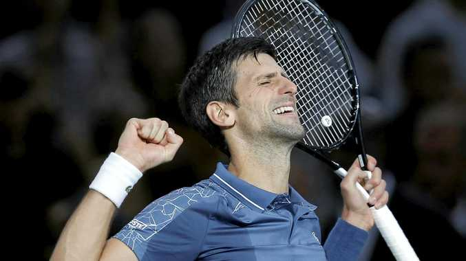Serbia's Novak Djokovic celebrates after defeating Croatia's Marin Cilic in their quarter final of the Paris Masters. Picture: Michel Euler/AP