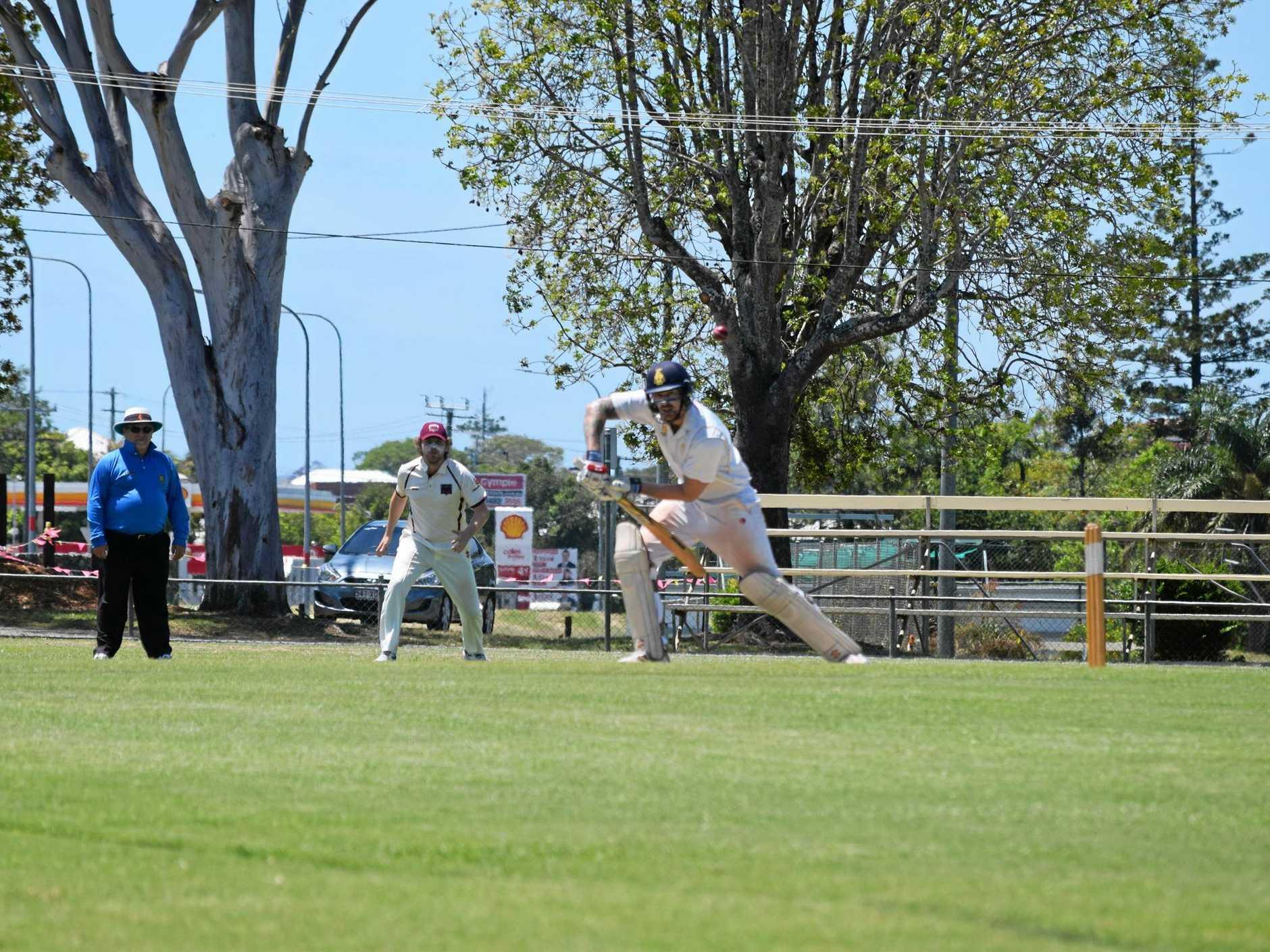 DEFENDER: Gympie Gold's opening batsman Josh Brady defends his wicket.