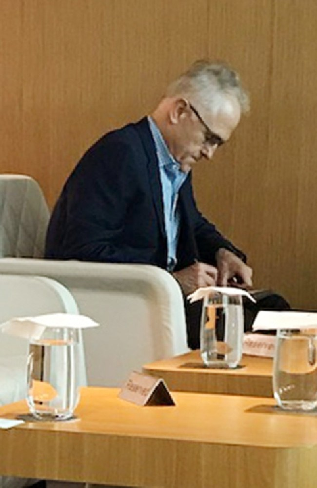 Malcolm Turnbull, sitting in Singapore first class lounge waiting for a flight. Picture: Geoff Morris