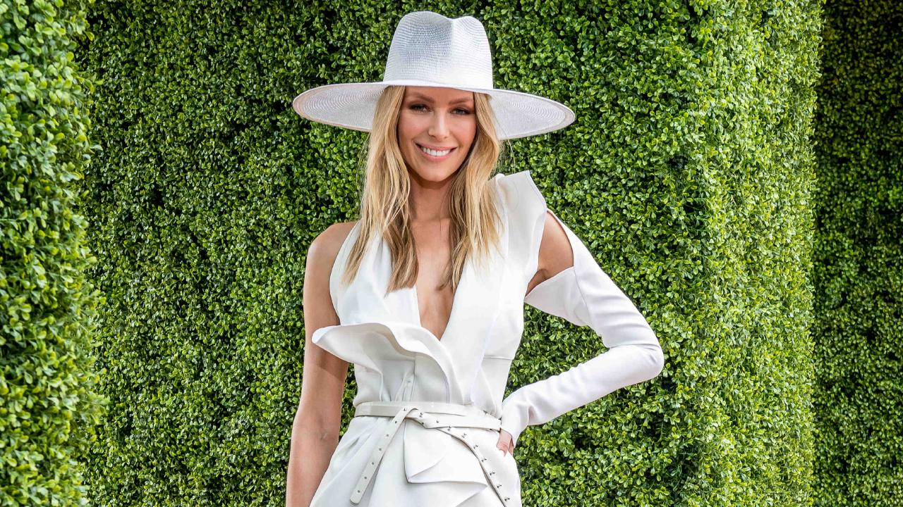 In her final racing carnival as the face of Myer, Jennifer Hawkins is going out with a fashion bang. Picture: Jake Nowakowski