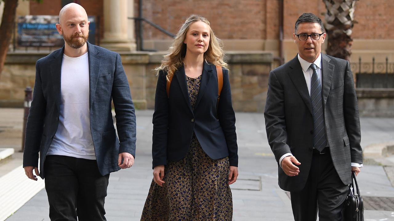 Actor Eryn Jean Norvill leaves court. Picture: AAP