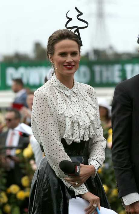 British racing identity Francesca Cumani in the mounting yard during Derby Day. Picture: AAP