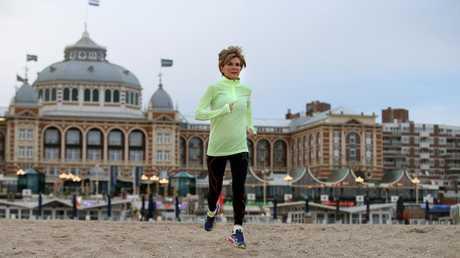 Julie Bishop going for a morning run at Scheveningen Beach in The Hague, Netherlands in 2015.