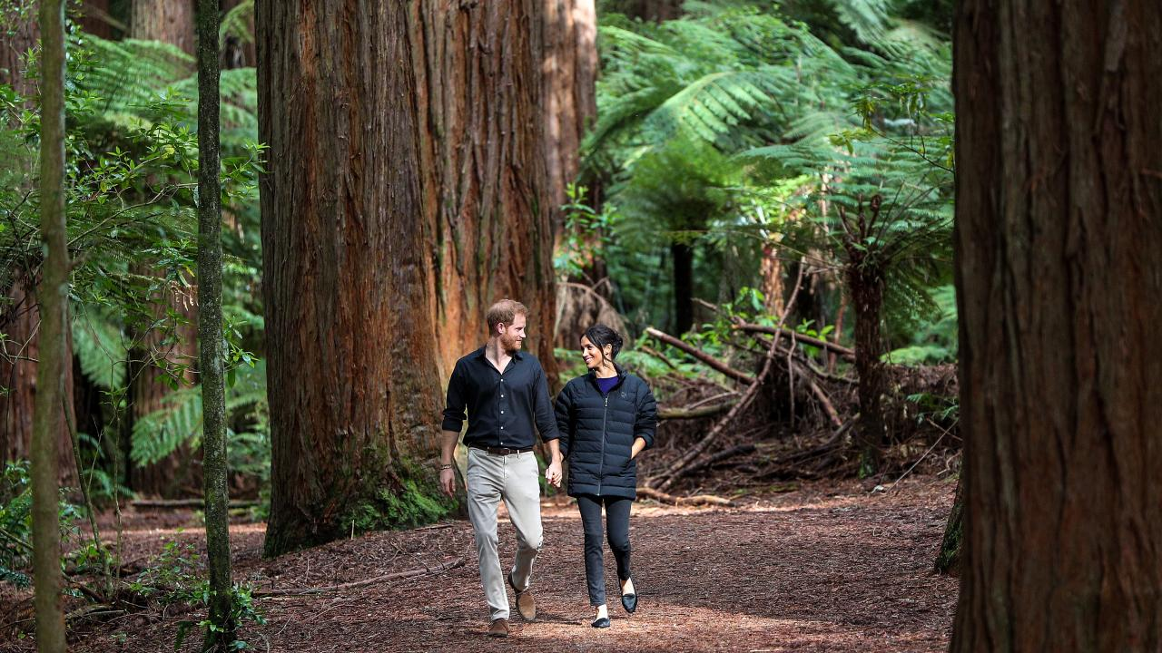 Prince Harry, Duke of Sussex and Meghan, Duchess of Sussex enjoy a moment away from the crowds in New Zealand. Picture: David Rowland/Getty