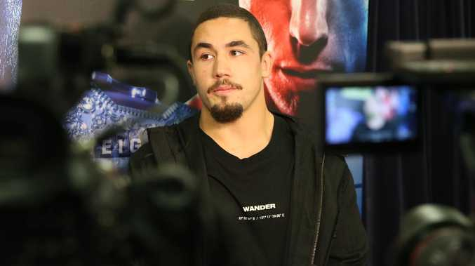 Australian UFC fighter and interim middle weight belt holder Rob Whittaker pictured addressing the media at UFC 217 held at Madison Square Garden in New York City. Picture: Richard Dobson