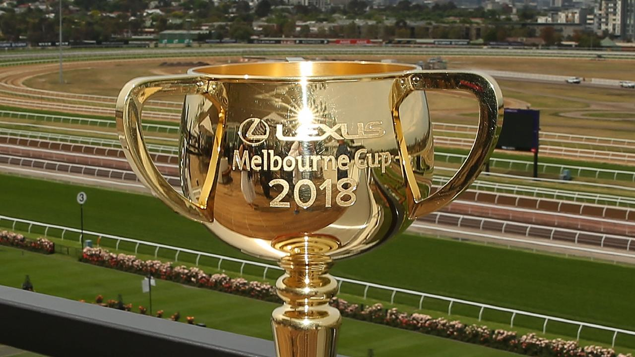 MELBOURNE, AUSTRALIA - NOVEMBER 01: A general view of the Melbourne Cup trophy and the skyline of Melbourne from the roof of the Club Stand at Flemington Racecourse on November 1, 2018 in Melbourne, Australia. (Photo by Scott Barbour/Getty Images)