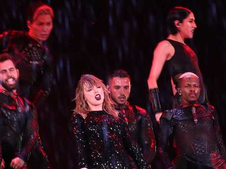 ANZ Stadium is and open air venue and both Swift and concert goers were lashed with rain. Picture: Mark Metcalfe