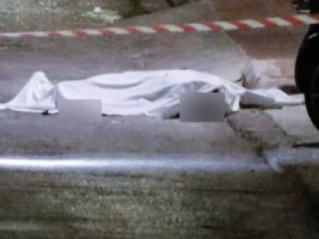 The gruesome crime scene outside. Picture: Supplied