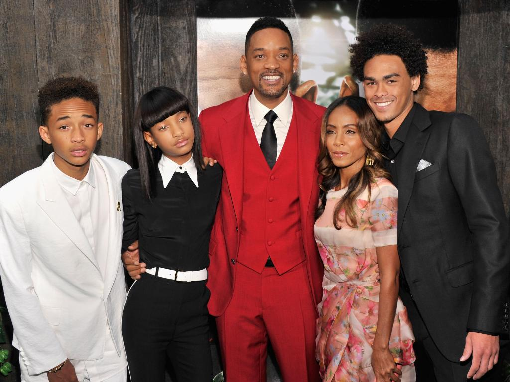 The full Smith clan in 2013 … Jaden Smith, Willow Smith, Will Smith, Jada Pinkett Smith and Trey Smith attend the After Earth premiere. Picture: Stephen Lovekin/Getty Images