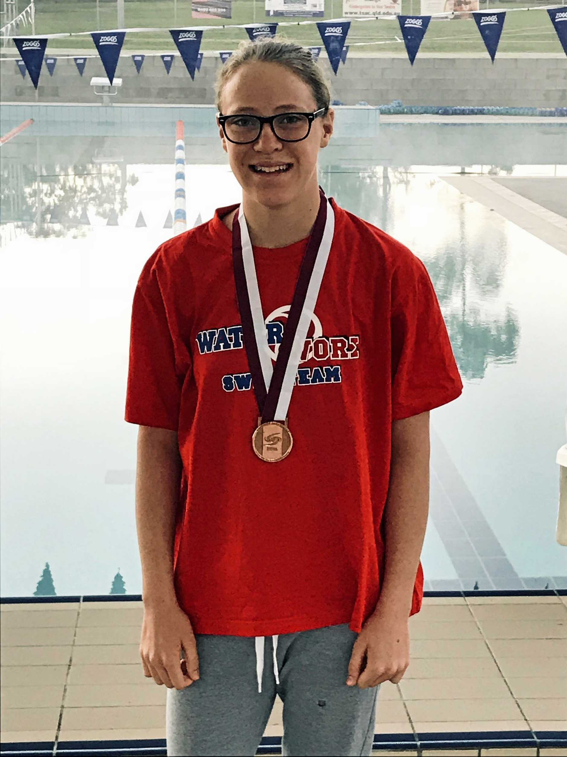 Waterworx swimmer Phoebe Sweeney won a bronze medal in her 5km event at the state open water championships at Lake Kawana.