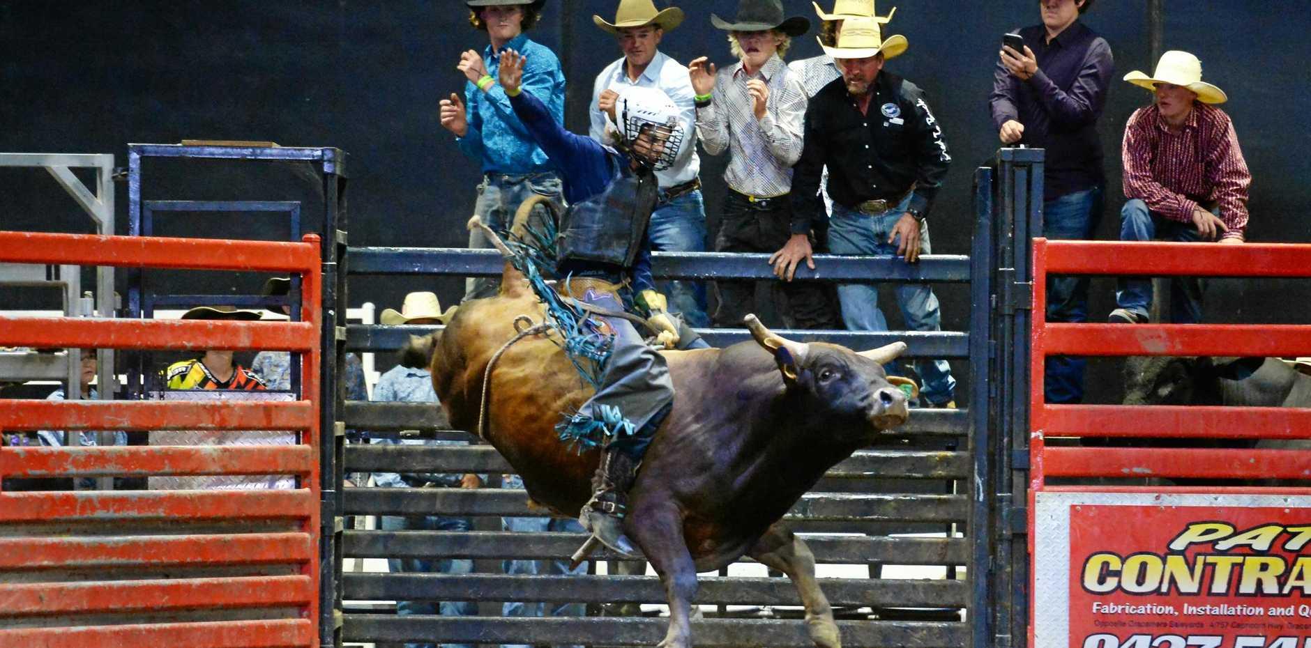 SADDLE UP: Top Guns u18 bull ride winner Macaulie Leather.