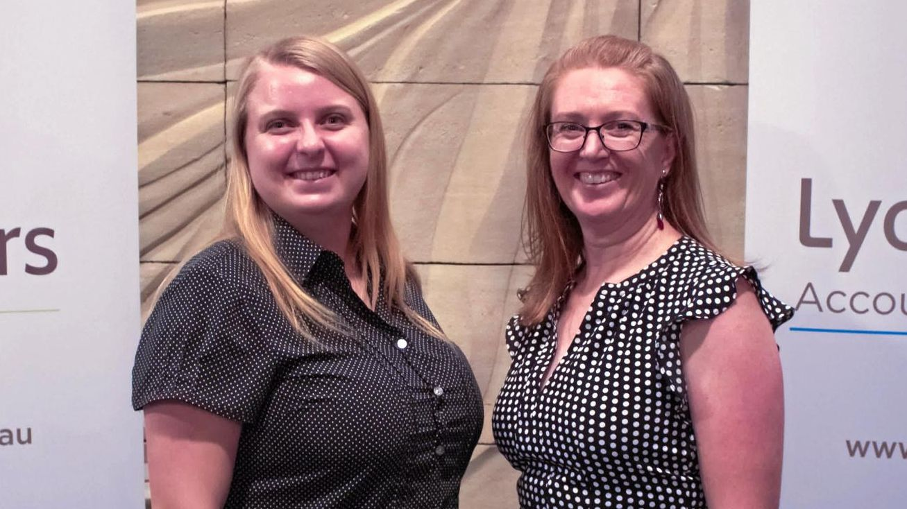 CAREER STEPS: Melissa De Rossi with Lyons Judge Executive Manager Karen Peall.